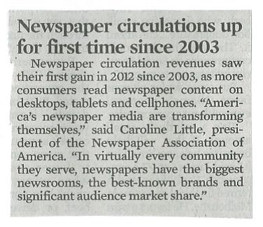 Newspaper Circulation Up